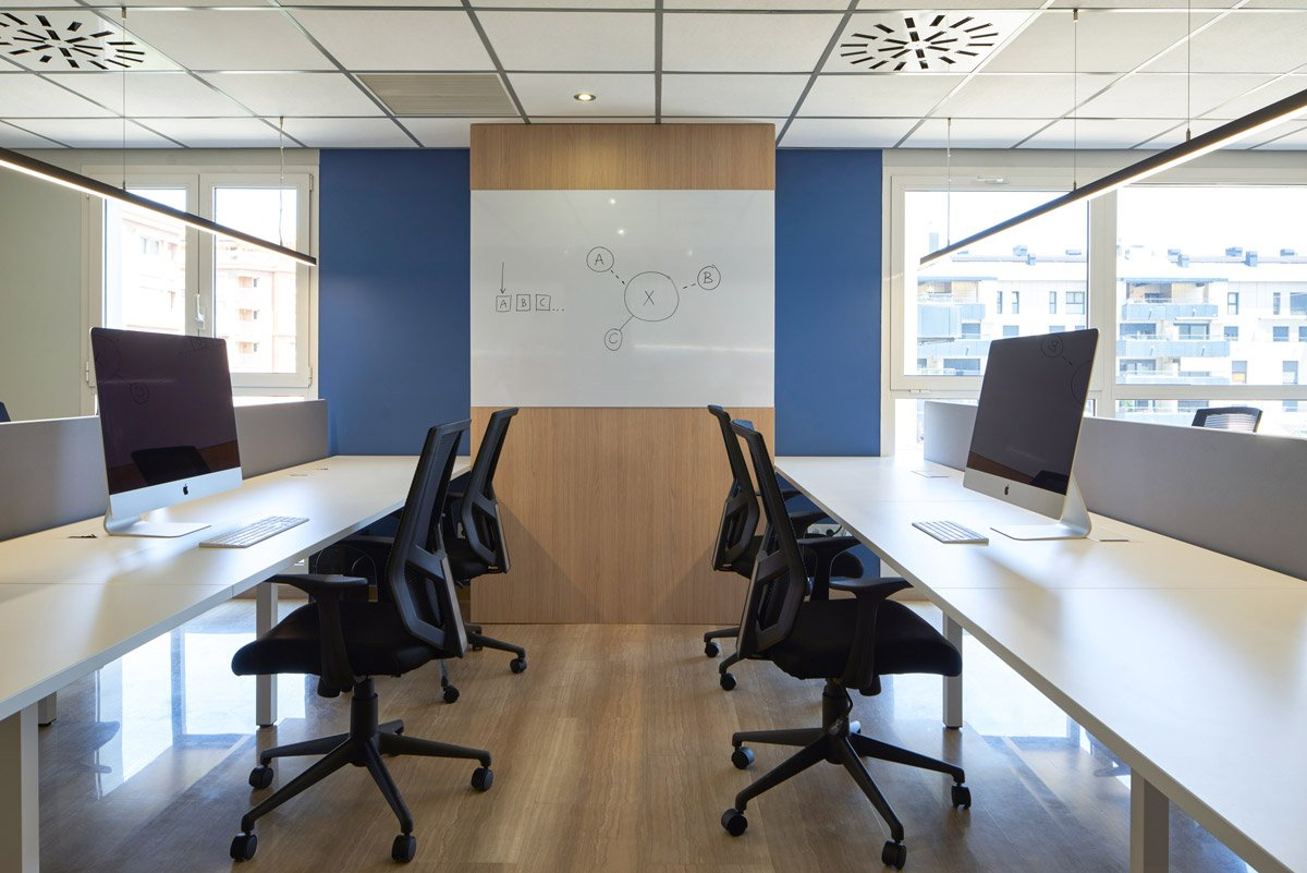 Pizarra integrada en oficina